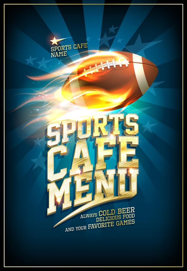 Sports cafe menu card design with classic leather rugby ball. In a fiery flame vector illustration