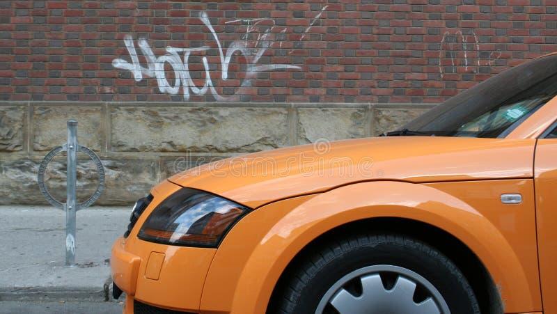 Sports car. Orange Sports car royalty free stock photo