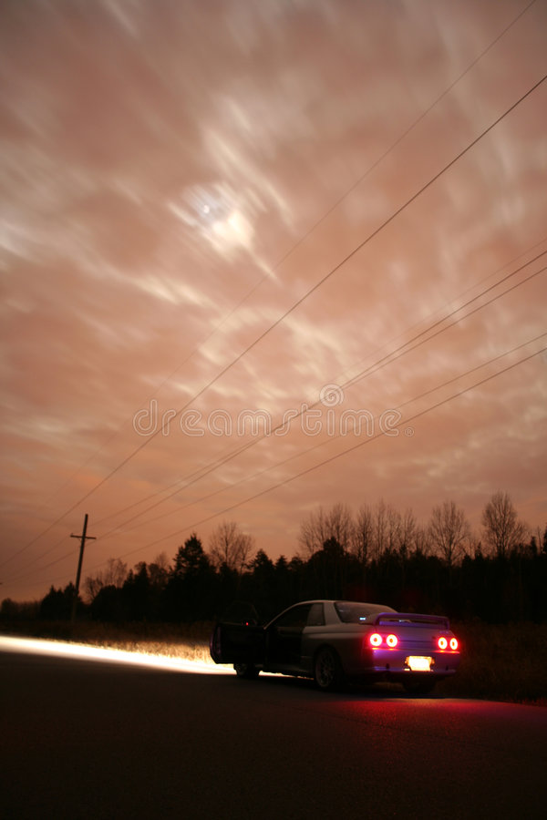 Sports Car. Japanese sports Car at night on a country road stock images