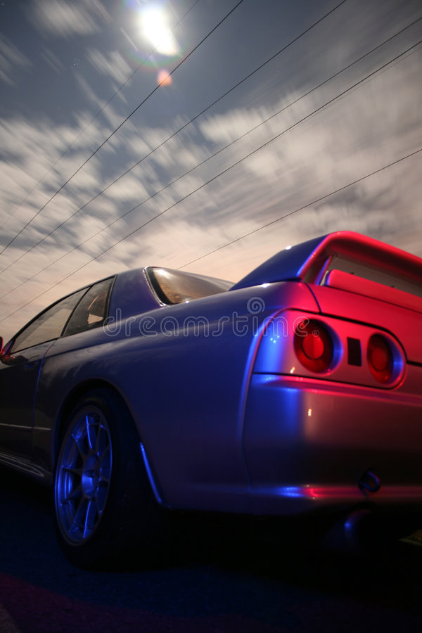 Sports Car. Japanese sports Car at night on a country road stock image