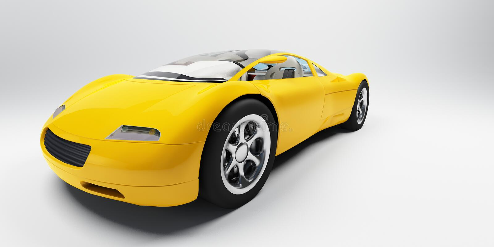 Sports car. Yellow sports car frontal view on a neutral background stock illustration