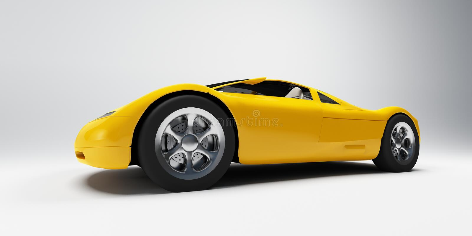Sports car. Yellow sports car frontal view on a neutral background royalty free illustration