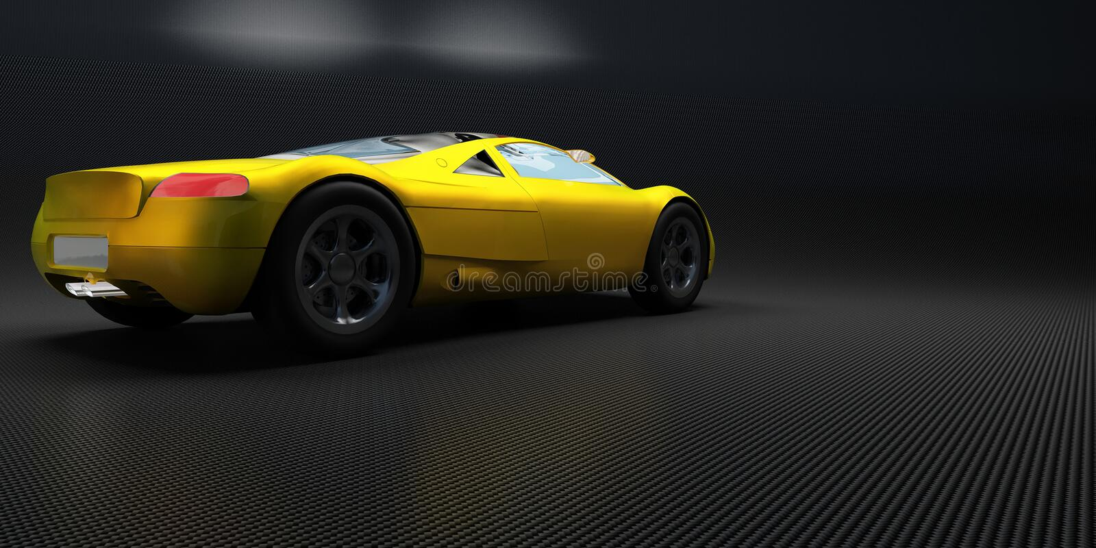 Sports car. Yellow sports car on a neutral background stock illustration