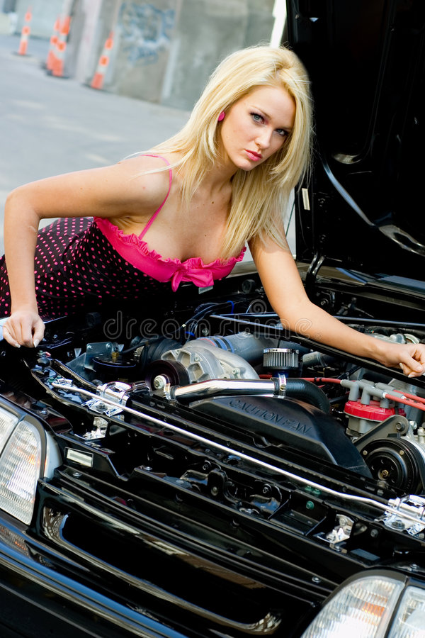 Download Sports Car Blonde stock photo. Image of girl, engine, hotrod - 3849872