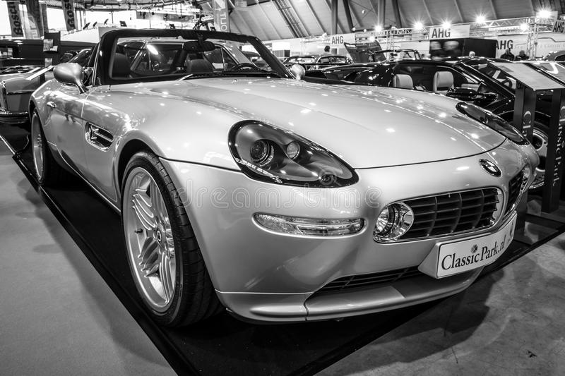 Sports car BMW Z8 Alpina V8 Roadster, 2003. STUTTGART, GERMANY - MARCH 02, 2017: Sports car BMW Z8 Alpina V8 Roadster, 2003. Black and white. Europe`s greatest stock photo