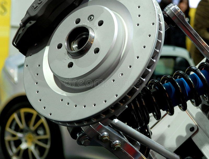 Sports car brakes. Brakes of a sports car at an exhibition stock photos