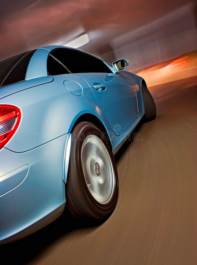 Sports Car Driving POV Angle. Sports Car In Motion Driving Fast, Speed Blur royalty free stock photo