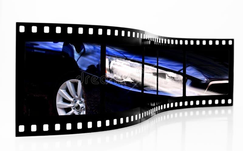 Sports car film strip stock photography