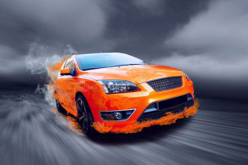 Sports car on fire stock illustration