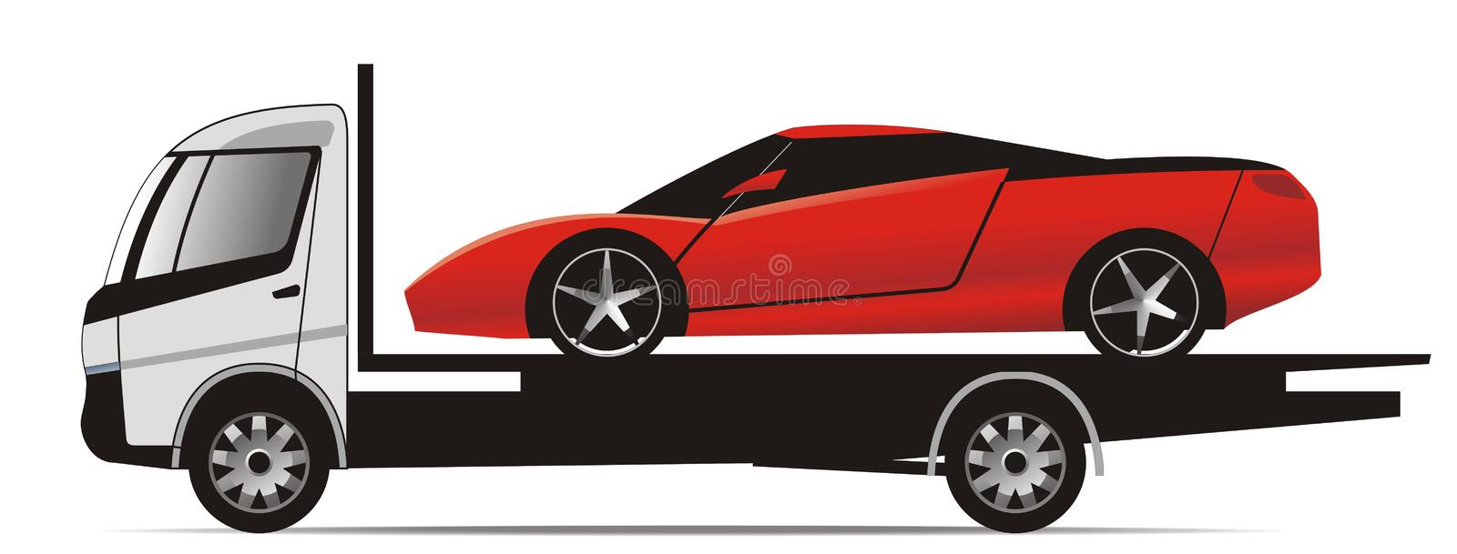 Sports car on flatbed truck royalty free illustration