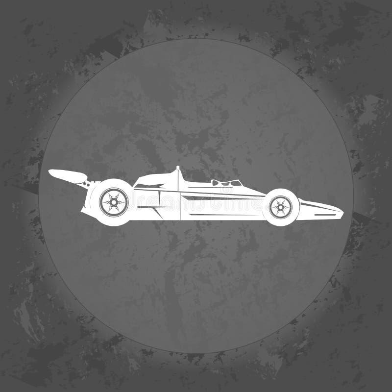 Sports car icon on gray vintage background . Minimalism. Icon Logo stock illustration