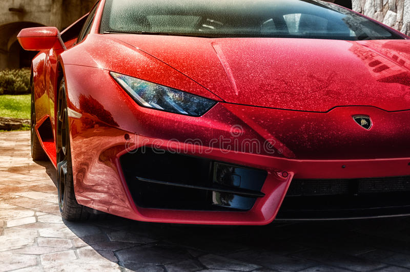 Sports car Lamborghini Huracan LP 610-4 2014 royalty free stock photo