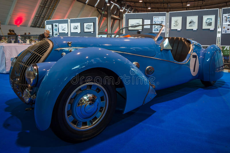 Sports car Peugeot 402 Darl`mat Special Sport Roadster, 1937. STUTTGART, GERMANY - MARCH 02, 2017: Sports car Peugeot 402 Darl`mat Special Sport Roadster, 1937 stock photo