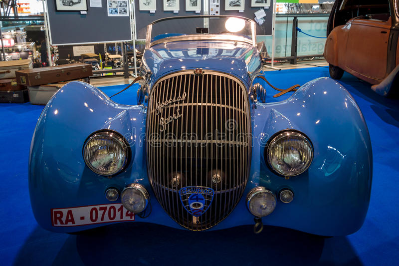 Sports car Peugeot 402 Darl`mat Special Sport Roadster, 1937. STUTTGART, GERMANY - MARCH 02, 2017: Sports car Peugeot 402 Darl`mat Special Sport Roadster, 1937 stock photography