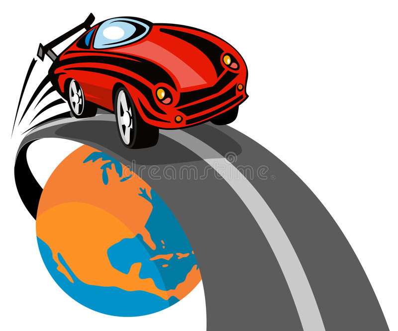 Sports car racing off stock illustration