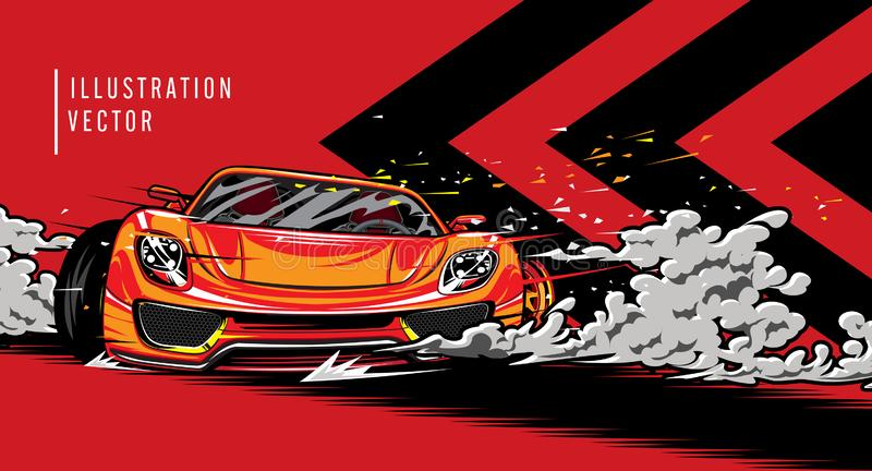 Sports car on the road. Modern and fast vehicle racing. Super design concept of luxury automobile. Vector illustration stock illustration