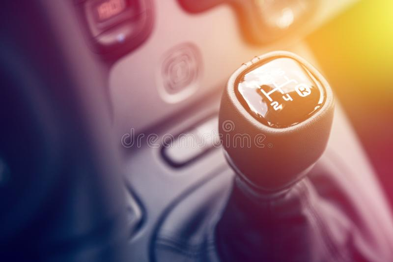 Sports car shift lever: Interior of a modern car. Close up of a shift lever, sports car, gear, gearshift, control, driving, interior, sportscar, sporty, ride stock photography