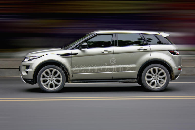 Sports car SUV. In the high speed movement SUV stock photography