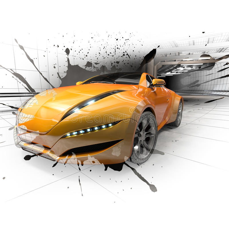 Download Sports car in the tunnel stock illustration. Image of splash - 13541601