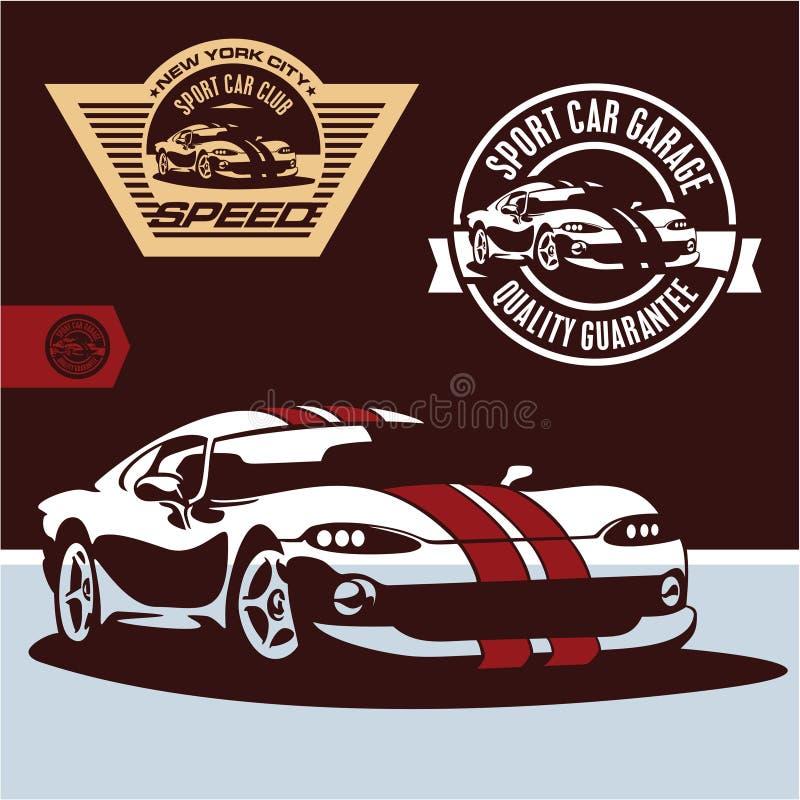 Sports car vector. Sports car club emblem stock illustration