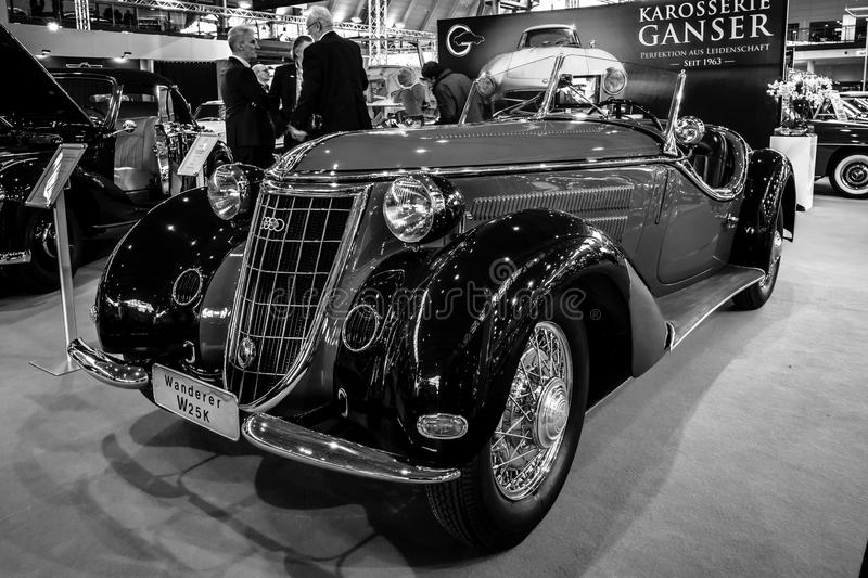 Sports car Wanderer W25K Roadster, 1936. STUTTGART, GERMANY - MARCH 02, 2017: Sports car Wanderer W25K Roadster, 1936. Black and white. Europe`s greatest stock photography