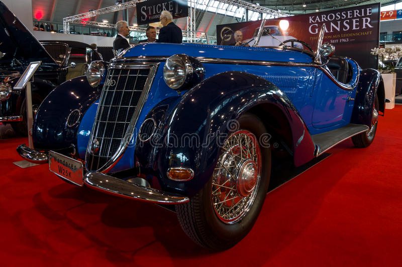 Sports car Wanderer W25K Roadster, 1936. STUTTGART, GERMANY - MARCH 02, 2017: Sports car Wanderer W25K Roadster, 1936. Europe`s greatest classic car exhibition royalty free stock photography