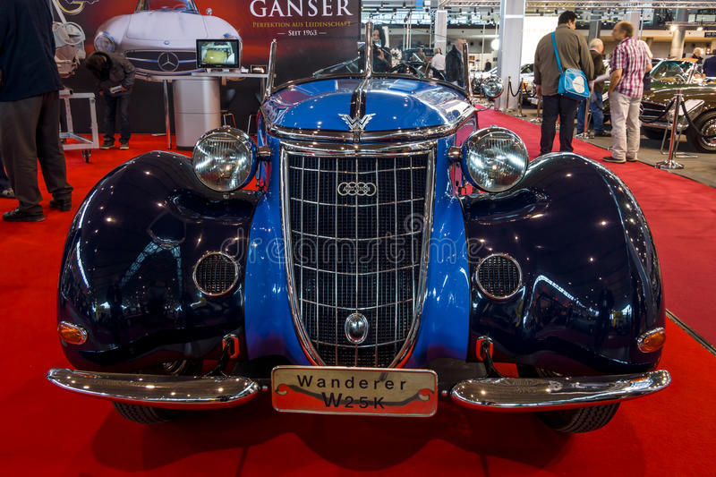 Sports car Wanderer W25K Roadster, 1936. STUTTGART, GERMANY - MARCH 02, 2017: Sports car Wanderer W25K Roadster, 1936. Europe`s greatest classic car exhibition stock photography
