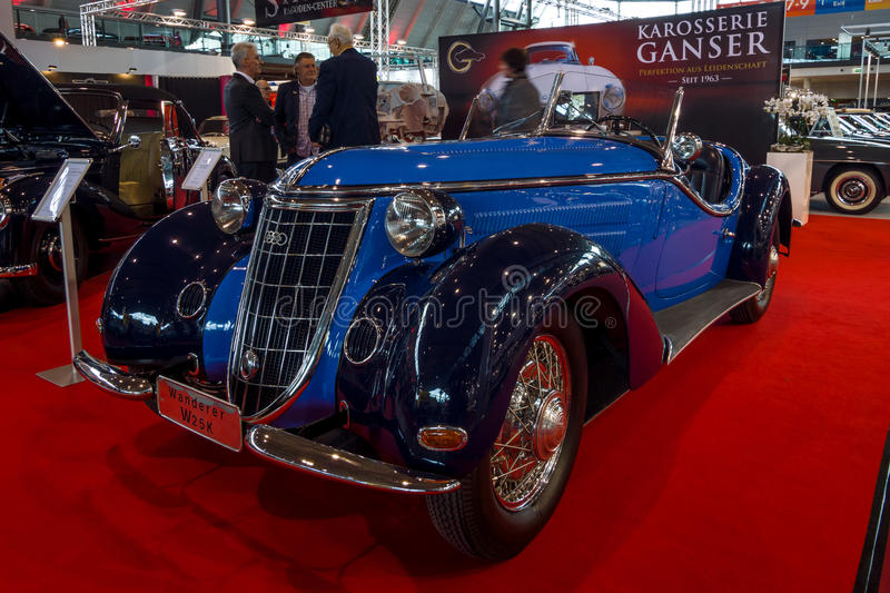 Sports car Wanderer W25K Roadster, 1936. STUTTGART, GERMANY - MARCH 02, 2017: Sports car Wanderer W25K Roadster, 1936. Europe`s greatest classic car exhibition royalty free stock photo