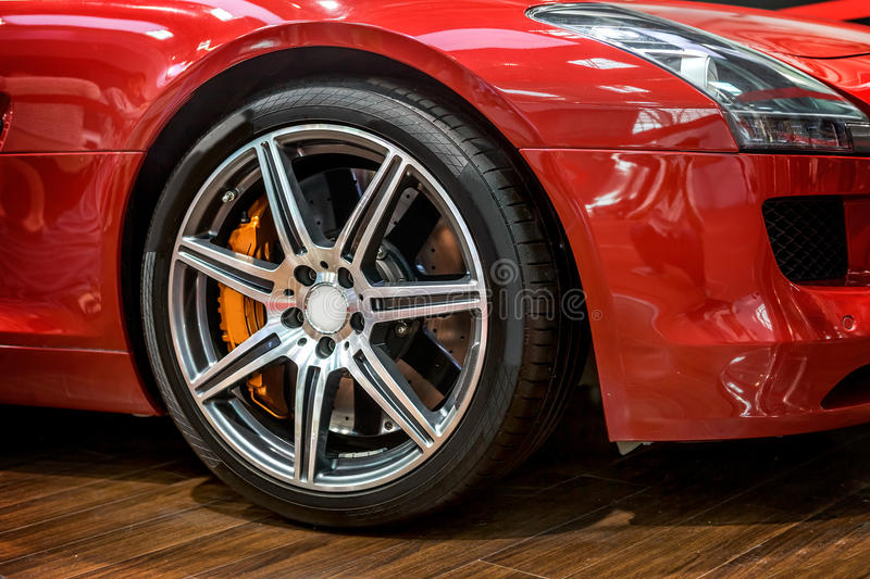 Sports car wheel. Close-up of sports car front wheel stock photos