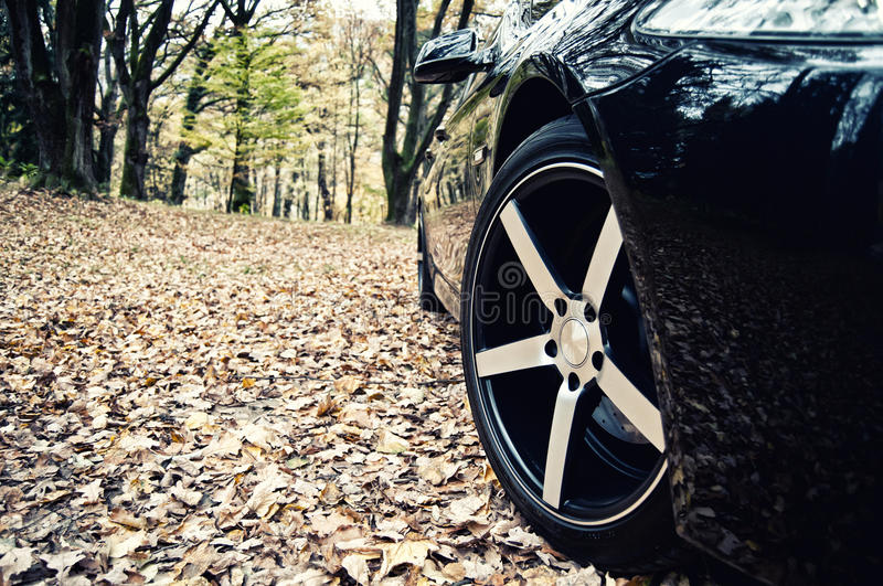 Sports car wheel. On nature background royalty free stock photography