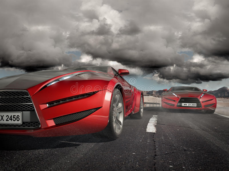 Sports cars moving on the road royalty free illustration