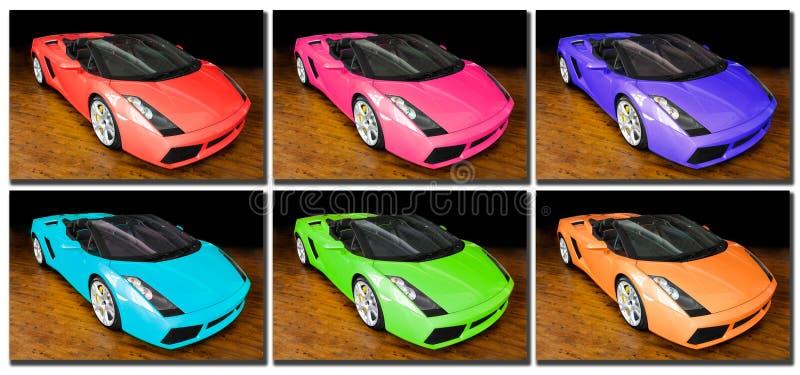 Sports cars pop art stock photos