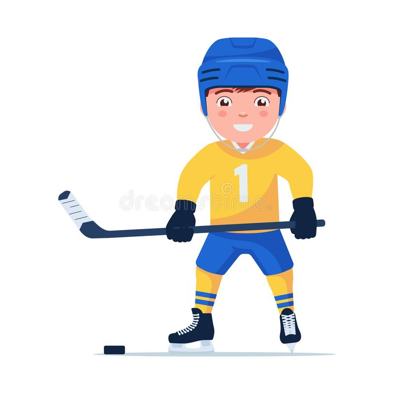 Sports child plays professional hockey stock illustration