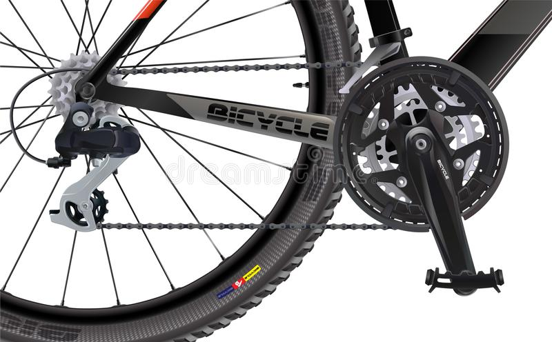 Sports mountain bike. Side view. High quality realistic . A set of chain sprockets for a bicycle. stock illustration