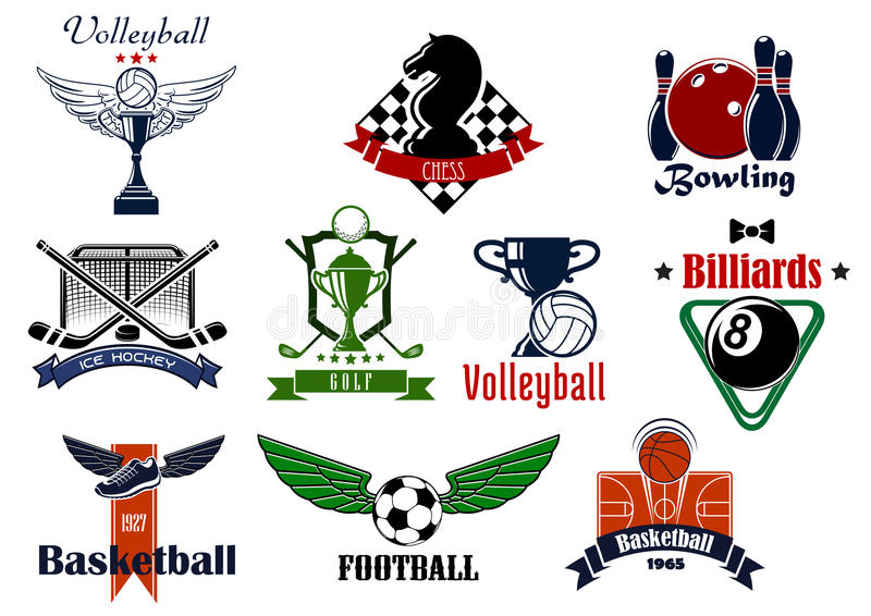 Sports club or team emblems and icons. For football, soccer, basketball, ice hockey, bowling, billiards, golf, chess and volleyball game with items stock illustration