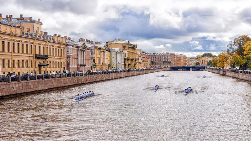 Sports competitions rowing on the Fontanka River in St. Petersburg, Russia.  stock images