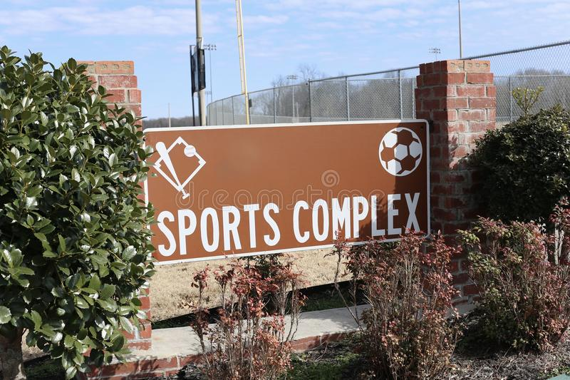 Sports Complex and Arena. A Sports Complex arena and stadium which is the venue for multiple sporting events including football, baseball and soccer stock photo