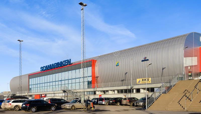 Sports complex Scaniarinken, home arena for SSK. Sodertalje, Sweden - January 15, 2017: Sports complex Scaniarinken, home arena for SSK in hockeyallsvenskan stock photography