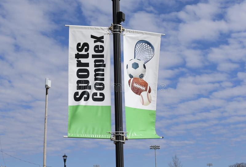 Sports Complex Sign. A Sports Complex arena and stadium which is the venue for multiple sporting events including football, baseball and soccer stock photography