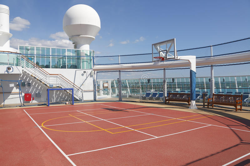 Sports court on cruise ship stock photos