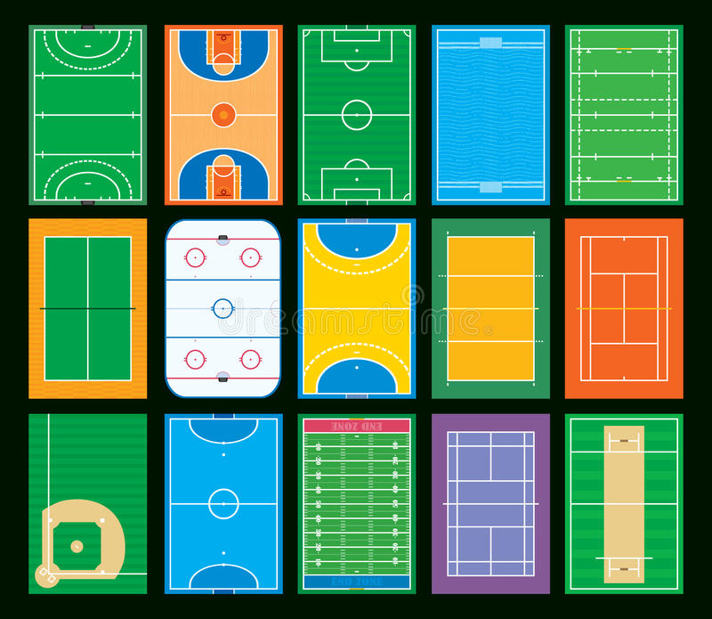 Sports courts and fields stock illustration