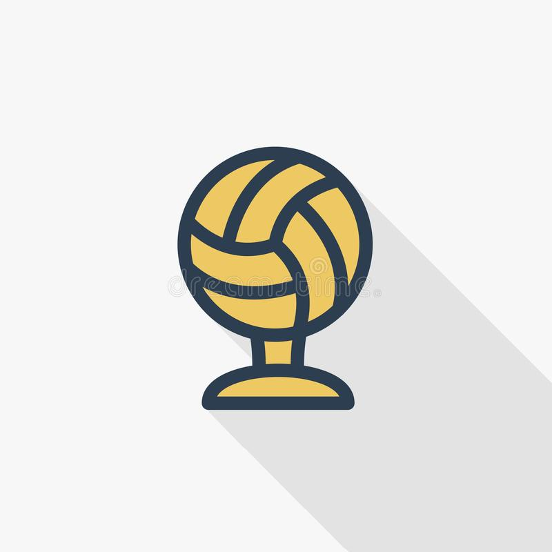 Sports cup, golden volleyball ball thin line flat color icon. Linear vector symbol. Colorful long shadow design. vector illustration