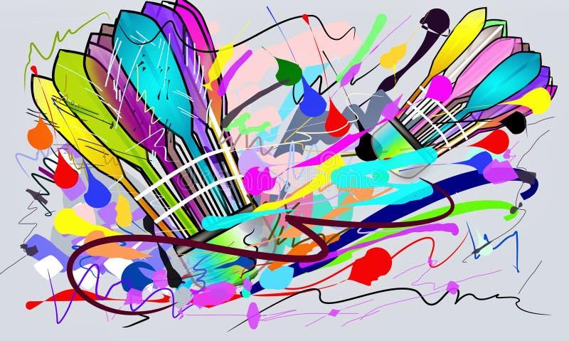 Sports d'action de badminton et course de brosse images libres de droits