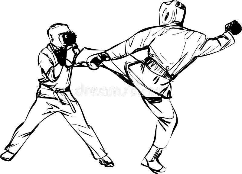 Sports d'arts martiaux de Kyokushinkai de karaté illustration de vecteur