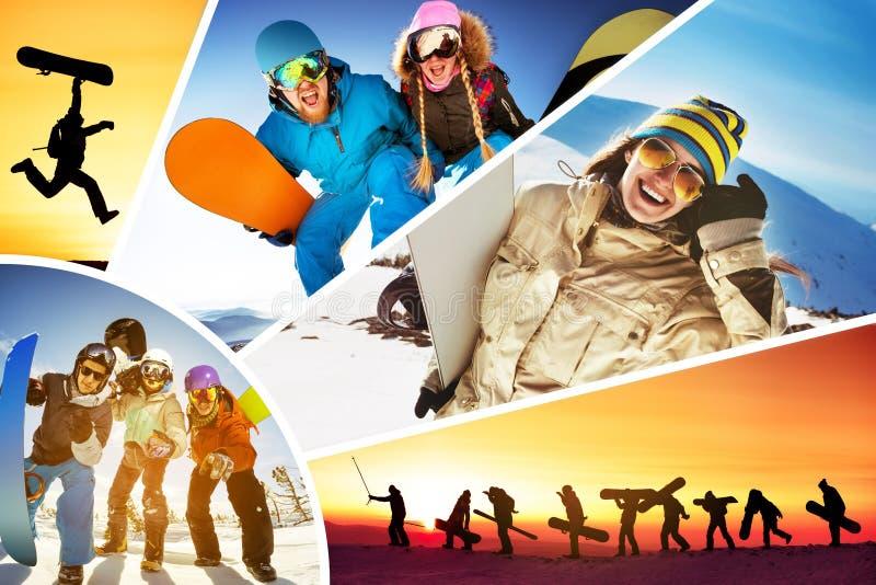Sports d'hiver de surfeurs de skieurs de ski de collage image stock