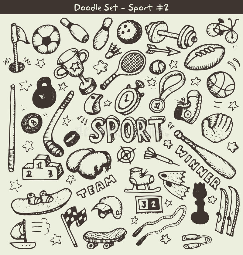 Sports de griffonnage illustration stock