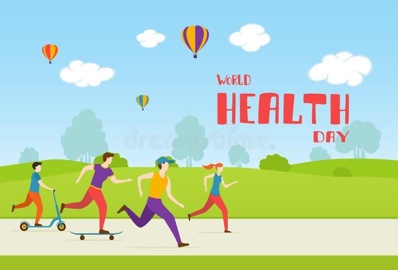 Sports de jeu de personnes en parc dans le jour de santé du monde illustration stock