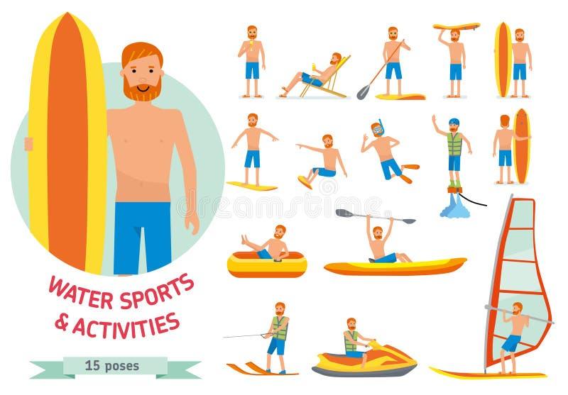 Sports de plage de l'eau d'été, activités réglées Équipez la planche à voile, surfant, ski d'eau de jet, paddleboarding, tuyauter illustration de vecteur