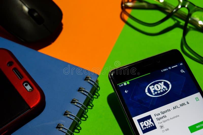 Sports de RENARD - AFL, NRL et réalisateur APP de sports sur l'écran de Smartphone images stock
