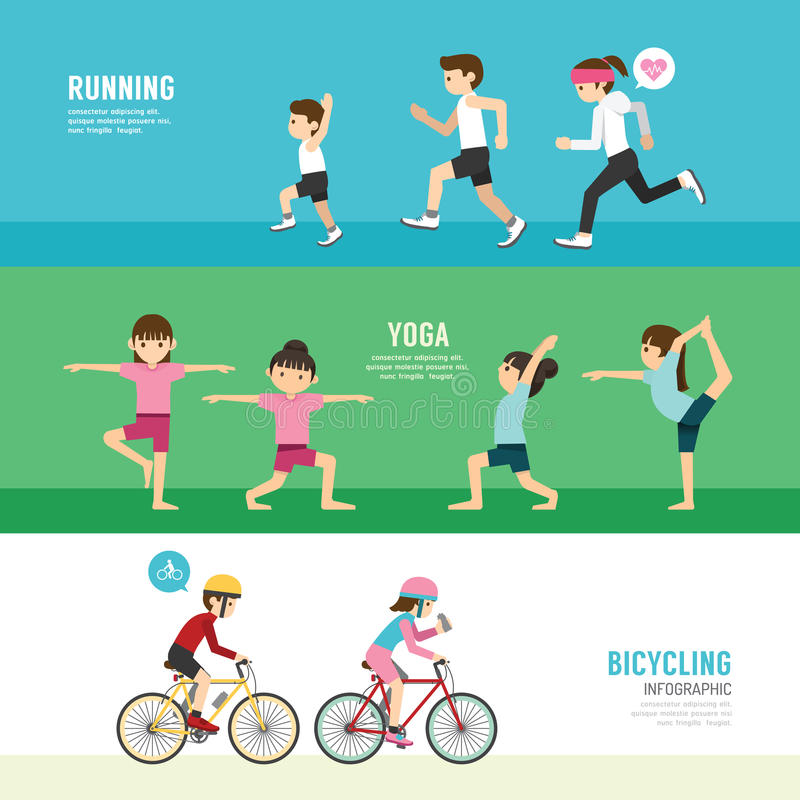 Sports design health concept people exercise set vector illustration
